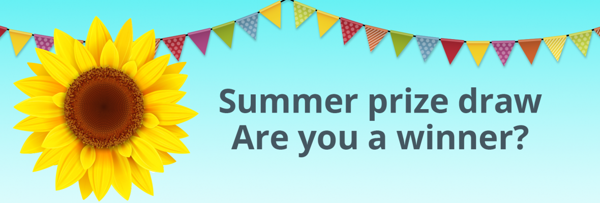 Sunflowers and summer prize draw are you a winner text