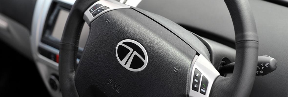 A steering wheel in a car.