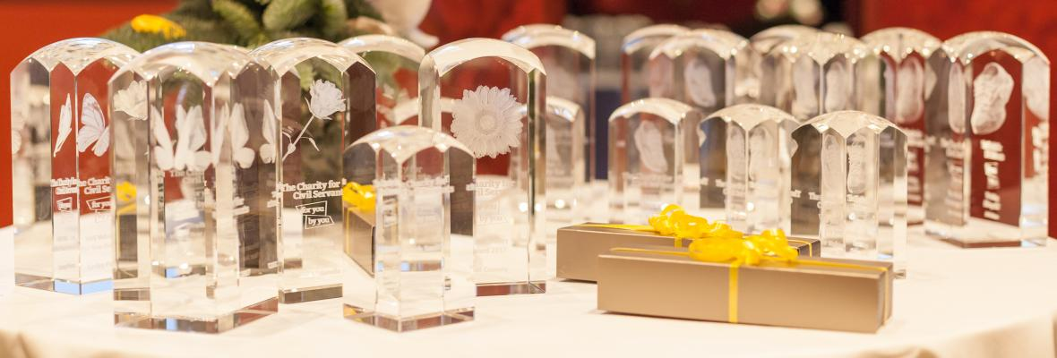 Our 2017 Volunteer Awards arranged on a table