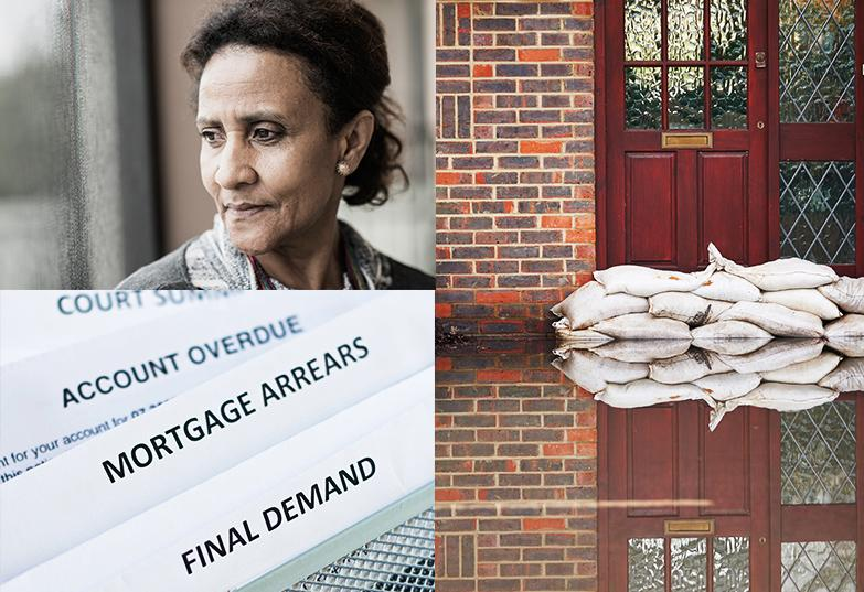 Janet - photo posed by model, Bills - reading final demand, mortgage arrears, Flooded doorway