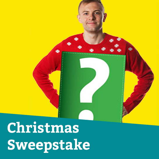 Christmas Jumper Sweepstake tile featuring a man in Christmas jumper
