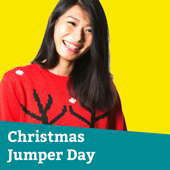 Christmas Jumper Day tile featuring a woman wearing a Christmas jumper
