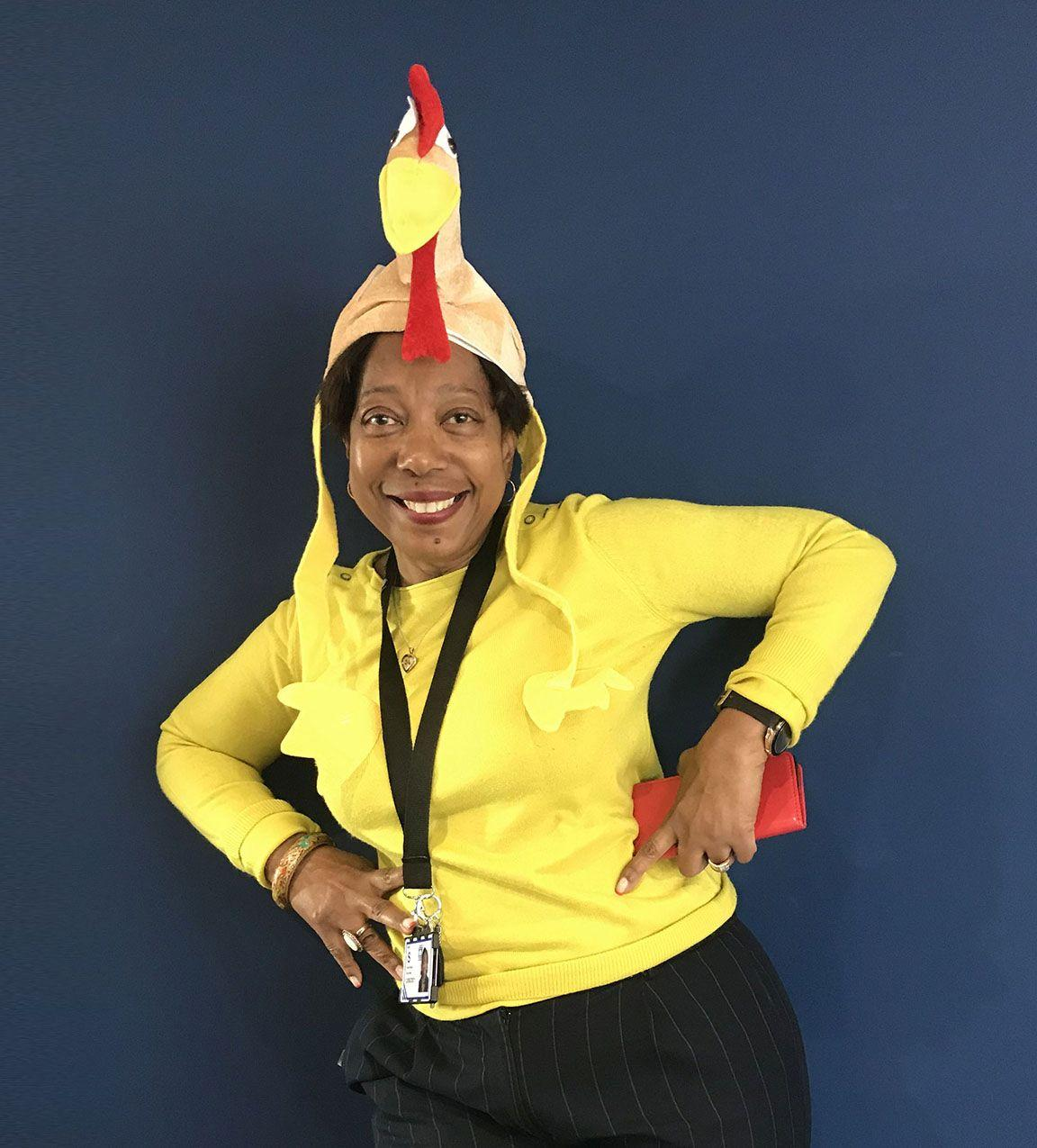 Picture of a volunteer dressed up as a chicken for Get Yellow Week.