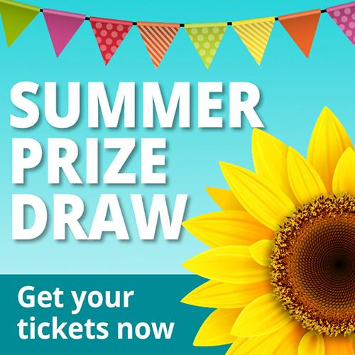 Sunflower and bunting for Summer Prize Draw