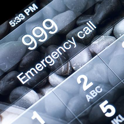 Mobile phone dialling 999 emergency