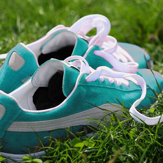A pair of running shoes placed on the grass