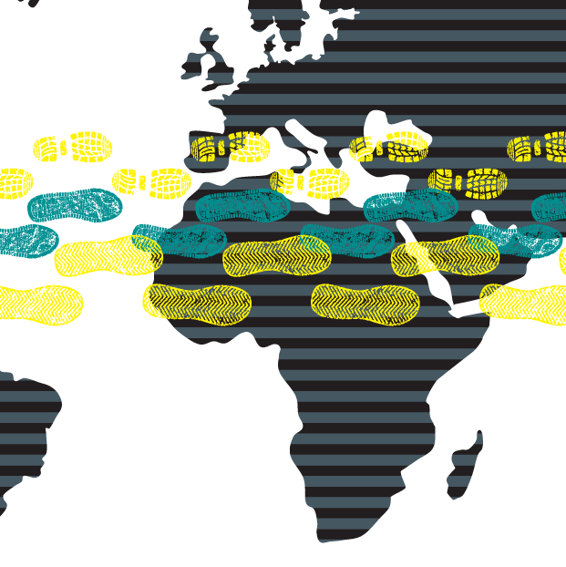 A map of the world has yellow and teal footprints