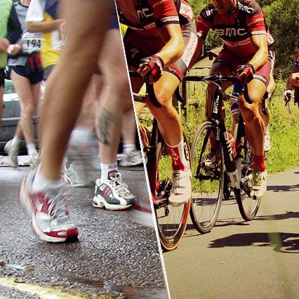 Running feet and road cyclists